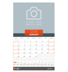 january 2018 wall monthly calendar planner for vector image vector image