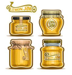 Lemon jam in glass jars vector