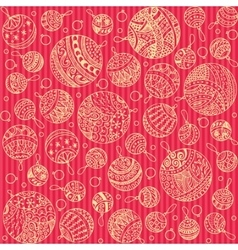Merry christmas balls doodle pattern of line icons vector image