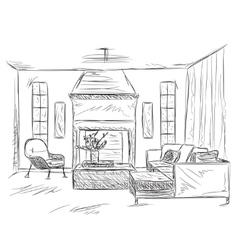 Modern interior room sketch furniture elements vector