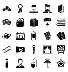 officeman icons set simple style vector image
