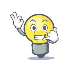 okay call me light bulb character cartoon vector image