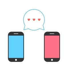 pink and blue smartphones with double speech vector image vector image