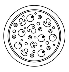 pizza with olives and mushrooms and egg yolks icon vector image