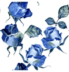 seamless pattern with blue roses vector image