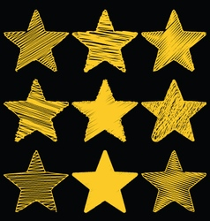 Set of hand drawn scribble gold stars icon set 1 vector