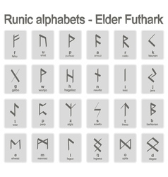 Set of monochrome icons with runic alphabets vector
