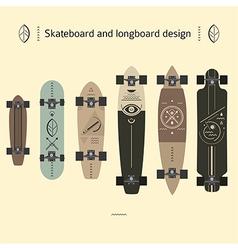 Skateboard and longboard design vector