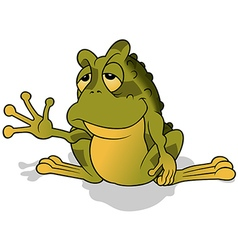 Sleepy green frog vector
