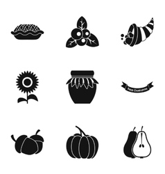 Thanksgiving day icons set simple style vector