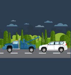 Tow truck evacuating broken car vector