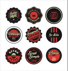 Vintage labels black and red set 2 vector