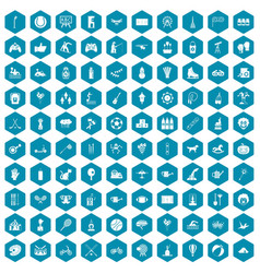 100 kids activity icons sapphirine violet vector image vector image