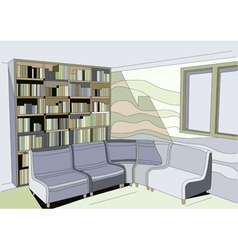 Interior with bookcase vector