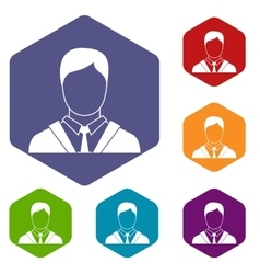 Man in business suit icons set vector image