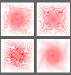 Red spiral and burst background design set vector image