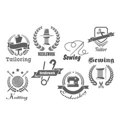 sewing embroidery and tailoring icons vector image