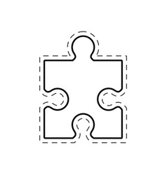 Puzzle solution image outline vector