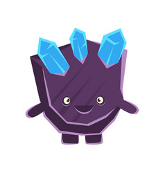 Cute smiling purple stone with blue crystals vector
