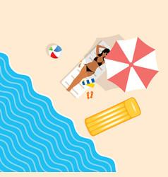 Girl in bikini on beach paradise vector