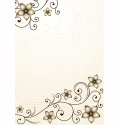 Old yellow paper with floral pattern vector