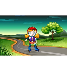 A girl rollerskating in the street vector