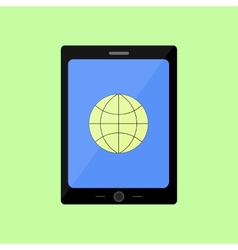 Flat style touch pad with internet icon vector