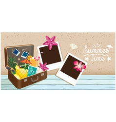 Suitcase and summer objects with frame vector