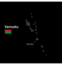 Detailed map of vanuatu and capital city port vila vector