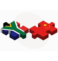 South africa and china flags in puzzle vector