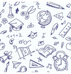 Creative seamless school pattern with pen drawings vector