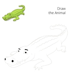Draw the animal educational game crocodile vector