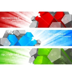 Set of banner with pentagon vector