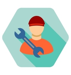 Worker wrench flat hexagon icon with long shadow vector