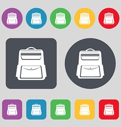School backpack icon sign a set of 12 colored vector