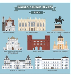 Turin famous places vector