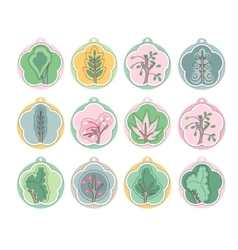 Set with different labels with blossoming trees vector image