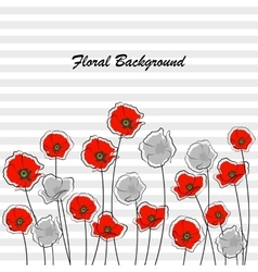 Abstract red and gray poppy flowers vector