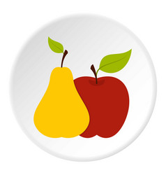 apple and pear icon circle vector image