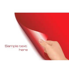 blank sheet of paper with hand vector image vector image