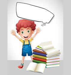 border template with boy and books vector image vector image