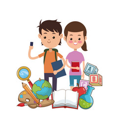 Boy and girl puplis book globe bag palette pencil vector