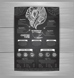 Chalk drawing coffee menu design decorative vector