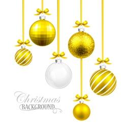 Christmas balls with yellow ribbon and bows vector