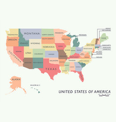 Colorful usa map with name of states vector