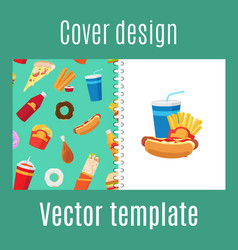 Cover design with fast food pattern vector