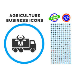 Cow transportation rounded icon with set vector