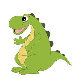 Cute cartoon dinosaur isolated on white vector