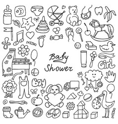doodle baby shower vector image vector image