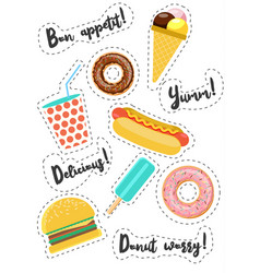 fast food vecor stickers vector image vector image
